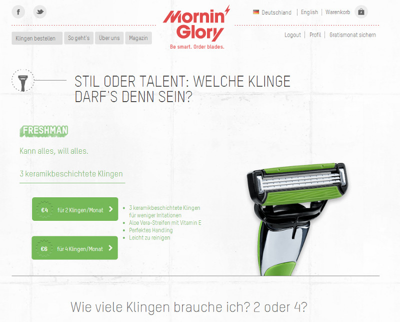 "Der ""Freshman"" auf der Mornin' Glory Website"